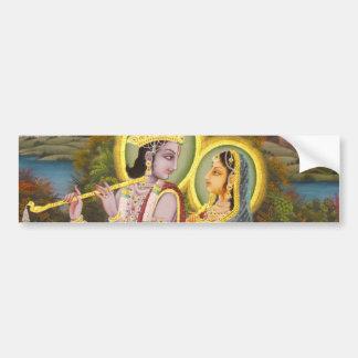 Krishna y Radha en loto Pegatina Para Auto