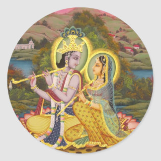 Krishna y Radha en loto Etiqueta Redonda