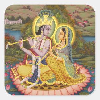 Krishna y Radha en loto Calcomanías Cuadradas