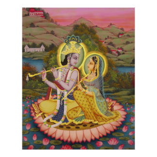 Krishna y Radha en Lotus - ampliación de foto Póster