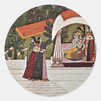 Krishna y Radha en un pabellón de Nihâl Chand Etiqueta Redonda