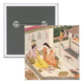 Krishna y Radha en una cama en un palacio del port Pins
