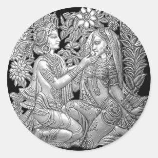Krishna y Radha Pegatinas Redondas