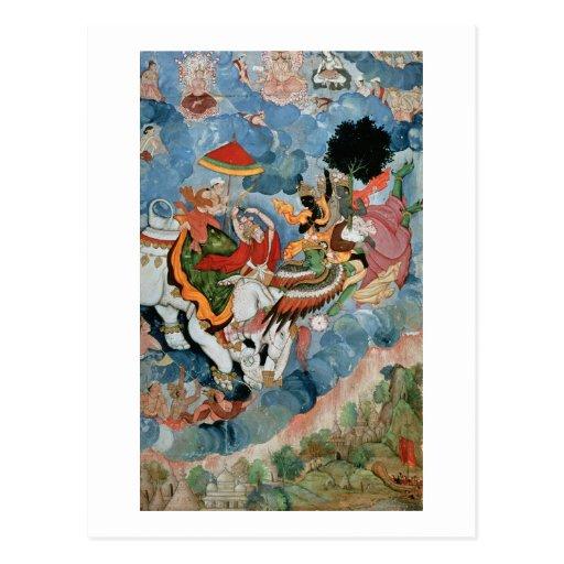 Krishna's combat with Indra, c.1590 Post Card