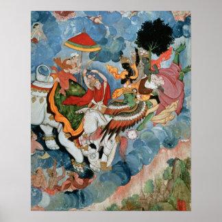 Krishna's combat with Indra, c.1590 Print