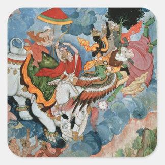 Krishna's combat with Indra, c.1590 Square Sticker