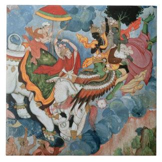 Krishna's combat with Indra, c.1590 Tile