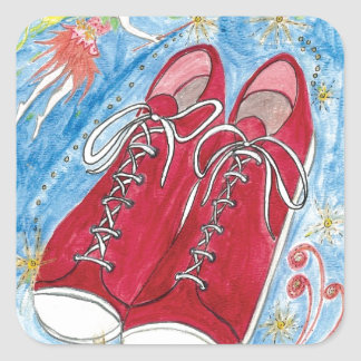 Krista-Link-a-La and the Size 13 Shoes Square Sticker