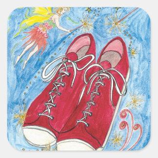 Kristalinkala y los zapatos del rojo de la talla pegatina cuadrada