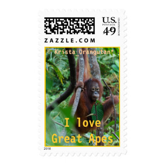 Krista's I Love Great Apes medium-size wildlife Postage Stamp