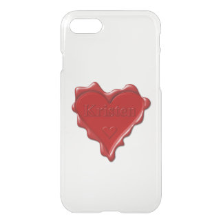 Kristen. Red heart wax seal with name Kristen iPhone 7 Case