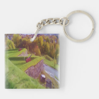 Kristiansten Fortress view  oil paint Square Acrylic Keychains
