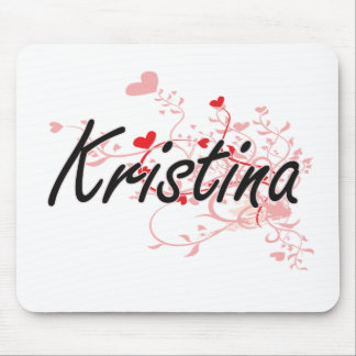 Kristina Artistic Name Design with Hearts Mouse Pad