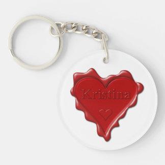 Kristina. Red heart wax seal with name Kristina Keychain