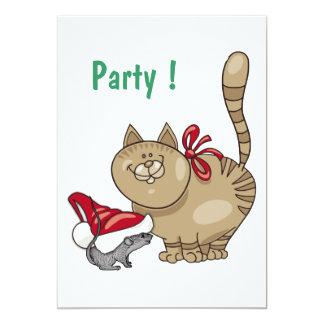 Kristmas Kitty & Kris Mouse 5x7 Paper Invitation Card