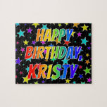 "[ Thumbnail: ""Kristy"" First Name, Fun ""Happy Birthday"" Jigsaw Puzzle ]"