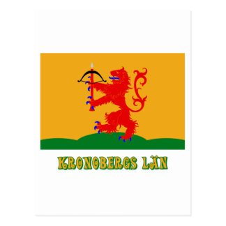 Kronobergs län flag with name postcard