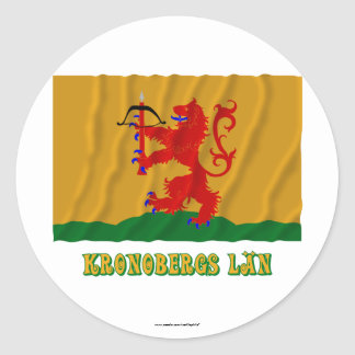 Kronobergs län waving flag with name classic round sticker