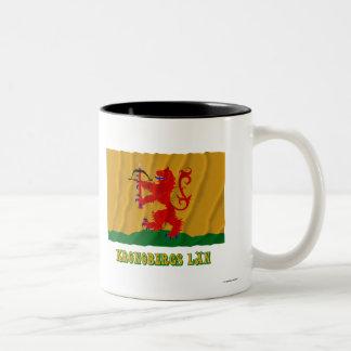 Kronobergs län waving flag with name Two-Tone coffee mug