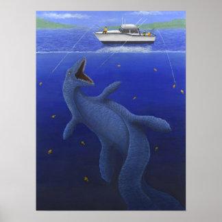 Kronosaurus Interrupts a Fishing Trip Poster