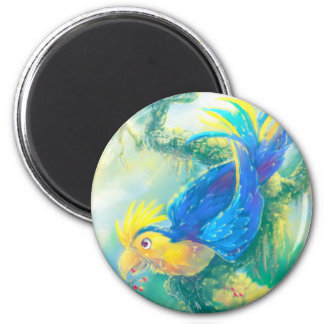 Krou the Parrot 2 Inch Round Magnet