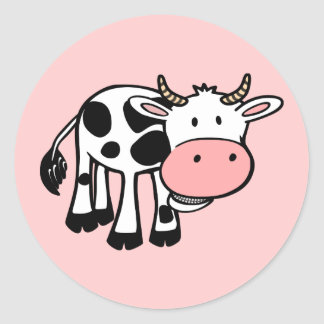 KROWA CUTE BABY COW FARM ANIMALS CARTOON HAPPY LIG CLASSIC ROUND STICKER