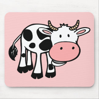 KROWA CUTE BABY COW FARM ANIMALS CARTOON HAPPY LIG MOUSE PAD