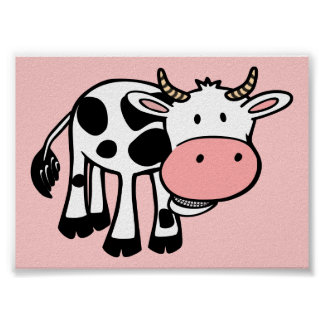 KROWA CUTE BABY COW FARM ANIMALS CARTOON HAPPY LIG POSTER
