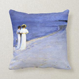 Kroyer - Summer Night on the South Beach at Skagen Throw Pillow