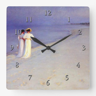 "Kroyer's ""Summer Afternoon on Skagen Beach"" Square Wall Clock"