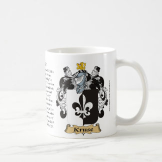 Kruse, the Origin, the Meaning and the Crest Coffee Mug