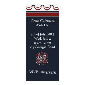 "KRW 4th of July Firework Custom Party Invitation 4"" X 9.25"" Invitation Card"