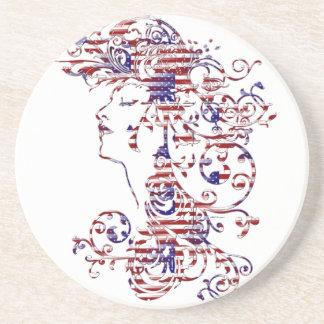 KRW American Beauty Patriotic Female Profile Beverage Coasters