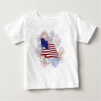 KRW American Flag Fireworks Patriotic Baby T-Shirt