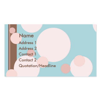 KRW Aqua Pink and Brown Dots Custom Business Card