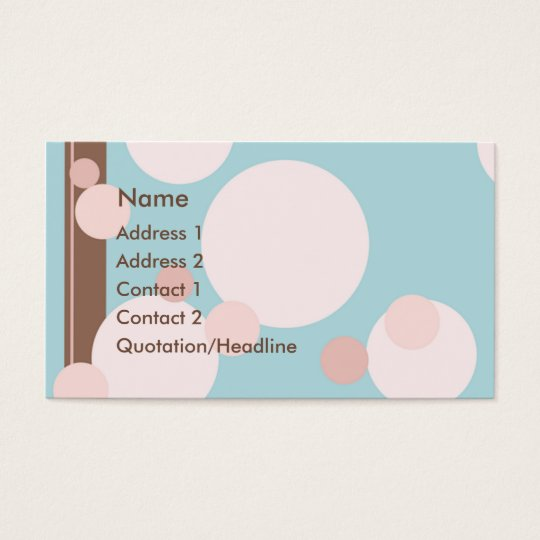 KRW Aqua Pink and Brown Dots Custom Business Card