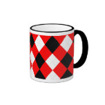 KRW Argyle Red White Black Ringer Coffee Mug