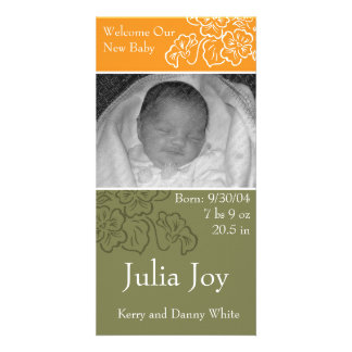 KRW Autumn Leaf Custom Photo Birth Announcement