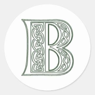 KRW - B - Celtic Monogram Seal Classic Round Sticker