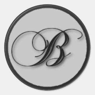 KRW - B - Monogrammed Seal Classic Round Sticker