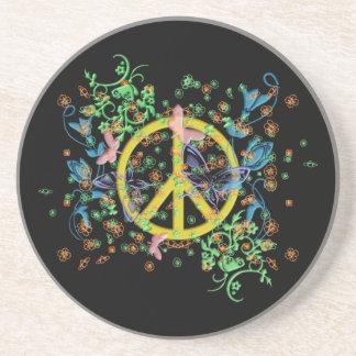 KRW Beautiful Butterfly Peace Symbol Coaster