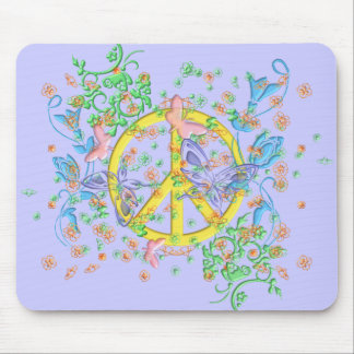 KRW Beautiful Butterfly Peace Symbol Mouse Pad
