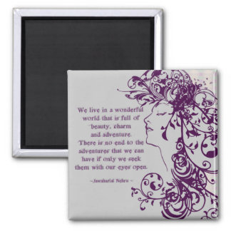 KRW Beauty Flourishes Quote 2 Inch Square Magnet