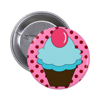 KRW Berry Blue Cupcake with Polka Dots Button