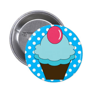 KRW Berry Blue Cupcake with Polka Dots Pinback Button