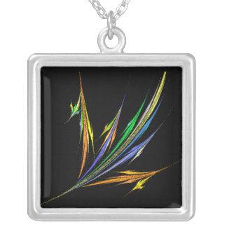 KRW Bird of Paradise Fractal Art Silver Necklace