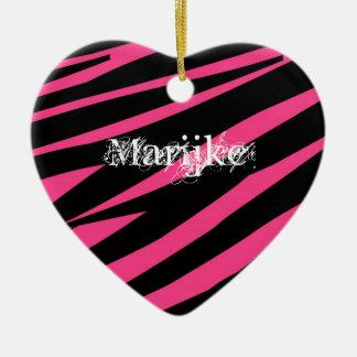 KRW Black and Pink Zebra Heart Custom Keepsake Ceramic Ornament