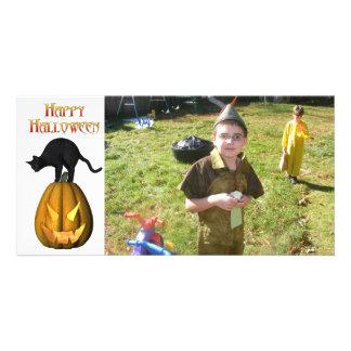 KRW Black Cat and Jack O Lantern Halloween Card