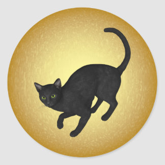 KRW Black Cat by the Full Moon Halloween Classic Round Sticker