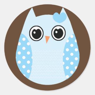 KRW Blue and Brown Dot Birthday Owl Sticker